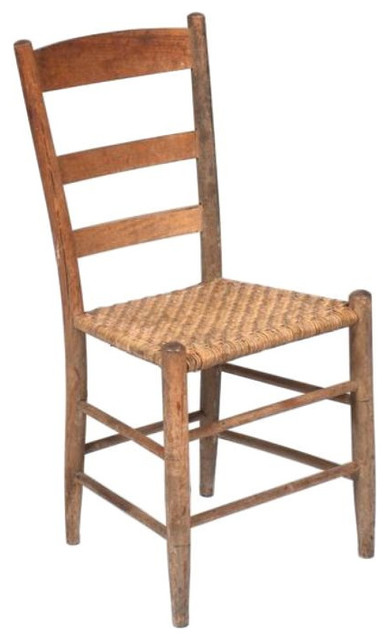 Primitive Wood Side Chair with Rush Seat - $450 Est. Retail - $160 on  Chairish