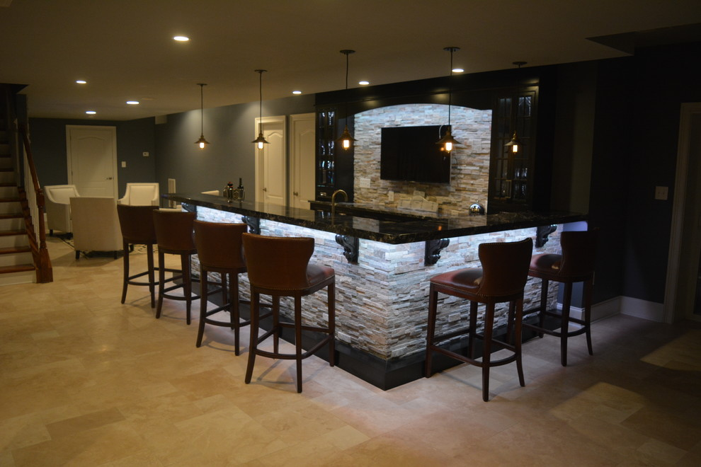 Chester Springs Finished Basement and Amazing Bar