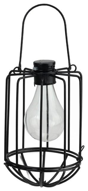 "6.75"" Black Cylindrical Solar Powered Led Outdoor Patio Metal Lantern."