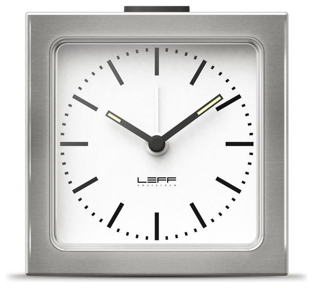 Block alarm clock steel white modern alarm clocks for Designer alarm clock