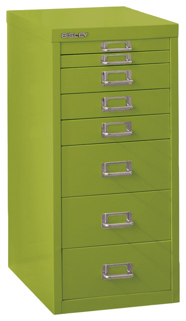 Bisley 8-Drawer Steel Multidrawer Storage Cabinet, Green.