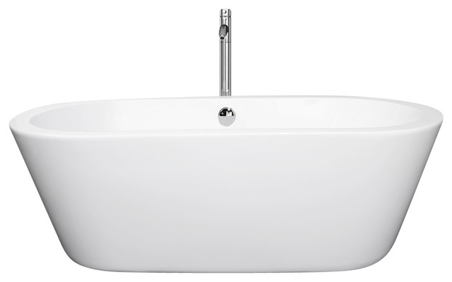 "Mermaid 60"" Freestanding White Bathtub, Polished Chrome Drain And Overflow Trim,."