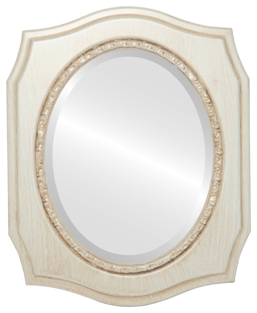 San Francisco Framed Oval Mirror In Antique White