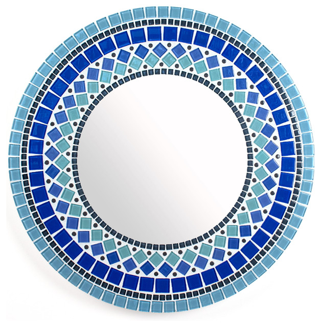 Round Mirror Wall In Blue Stained Glass Tile 15 Diameter