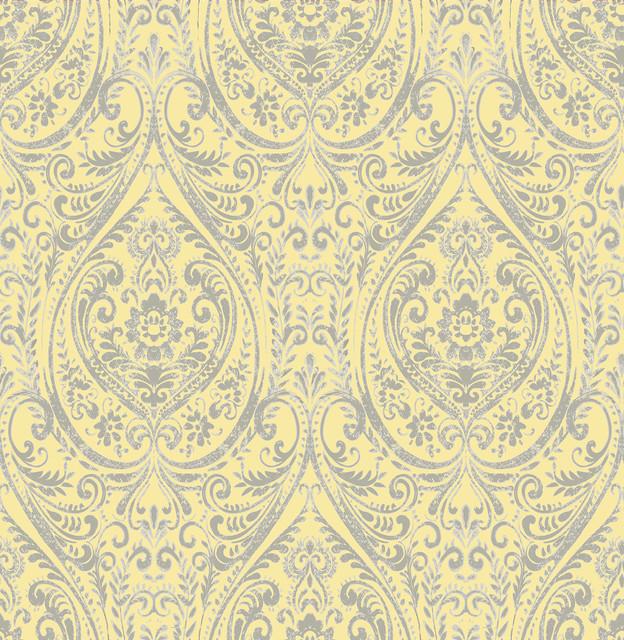 Gypsy Yellow Damask Wallpaper Swatch