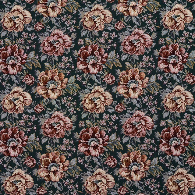 Green And Red Floral Tapestry Upholstery Fabric By The Yard