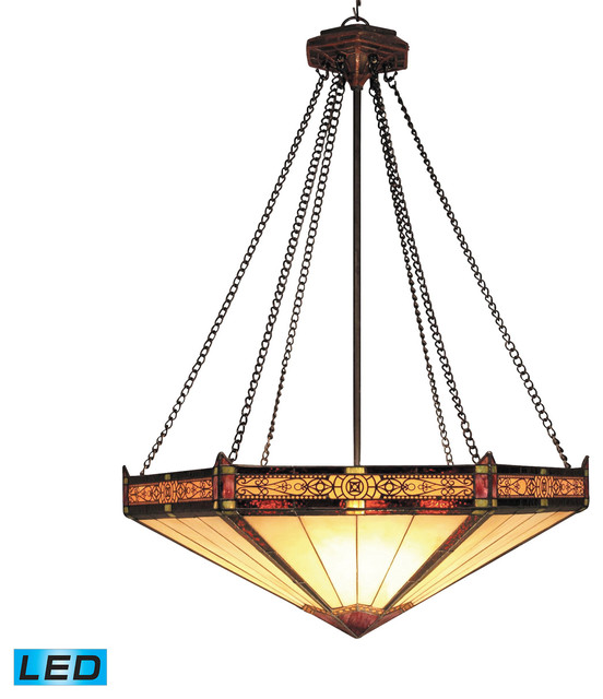 Elk Lighting Harmelin: Filigree 3-Light Aged Bronze Pendant