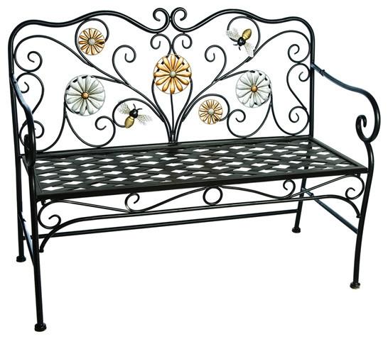 Super Black Metallic Bees And Flowers Garden Bench Spiritservingveterans Wood Chair Design Ideas Spiritservingveteransorg