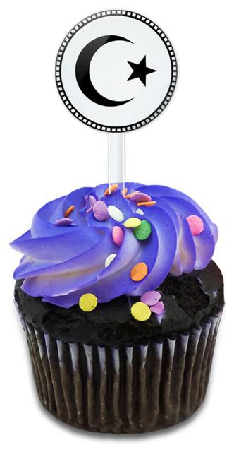 Star Crescent Cupcake Toppers Picks Set.