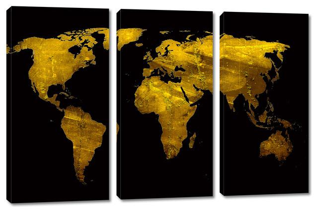 Gold World Map Wall Art.Black And Gold World Map Canvas Print Wall Art 3 Panel Split