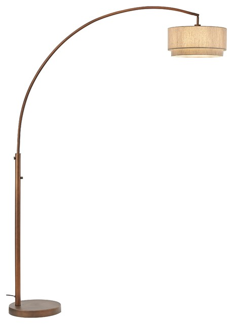 """Artiva USA ElenaII 82"""" LED Arched Floor Lamp Double Shade Dimmer, Antique Bronze"""