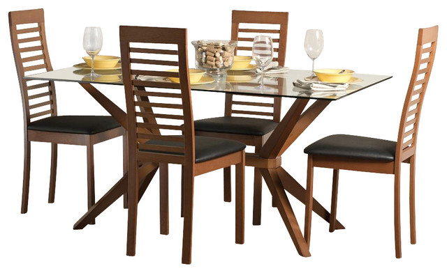 Greenwich Dining Table Set With Denver Chairs In Cherry Dining Sets By Shopladder