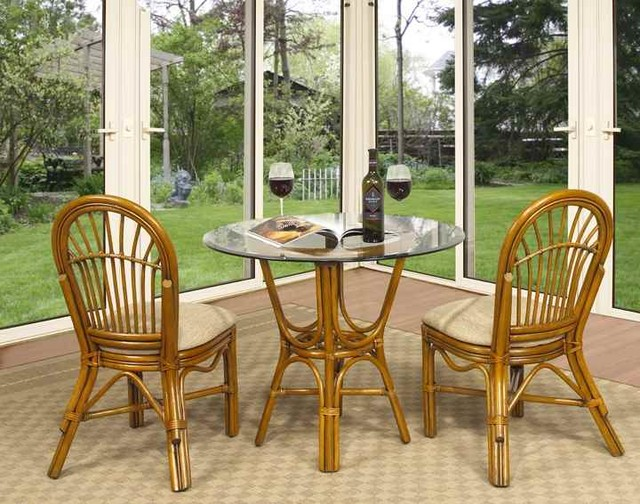 Antigua 3 pc rattan cafe table set in royal oak 641 for Kitchen set royal
