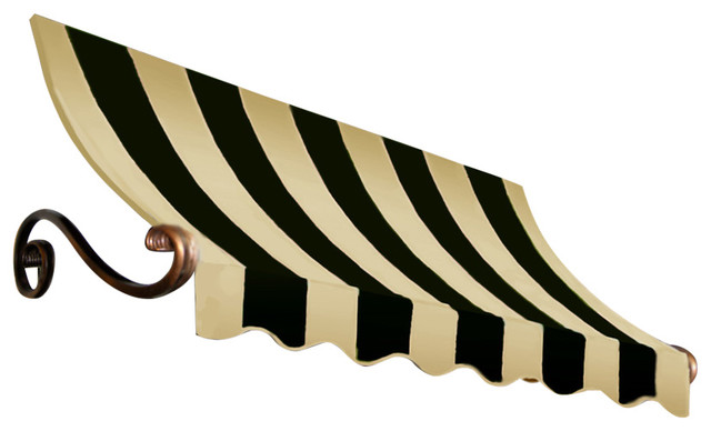 "8&x27; Charleston Window Awning, 31"" Hx24"" D, Black And Tan."