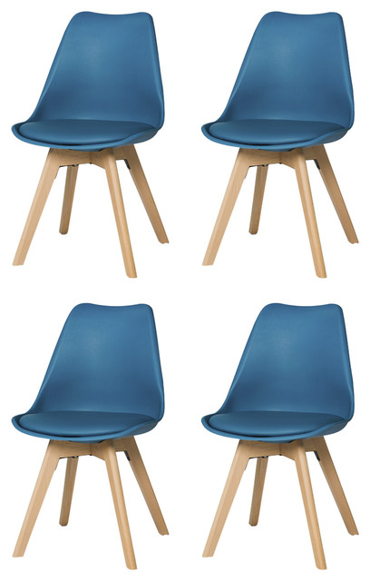 Urban Modern Dining Chairs, Set of 4, Blue
