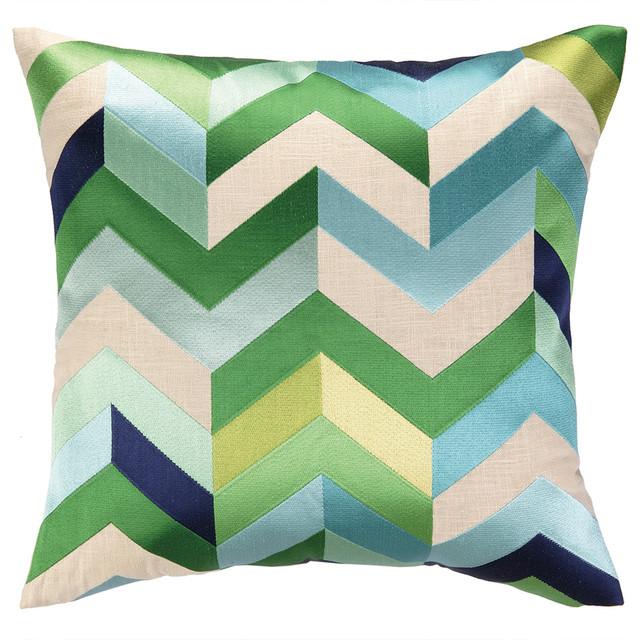 Arrowhead Blue/green Decorative Pillow, Down Fill.