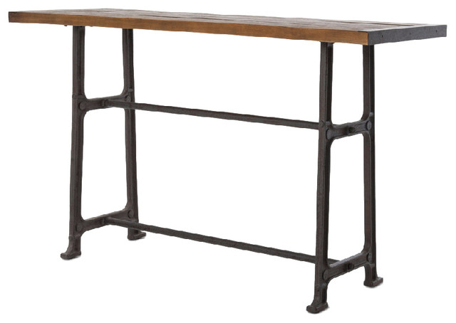 Wolcott Industrial Loft Iron Bleached Oak Dining Bar Table.