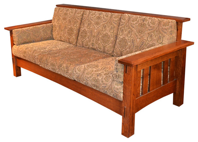 Crafters And Weavers Amish Quartsawn Oak Mccoy Upholstered Sofa