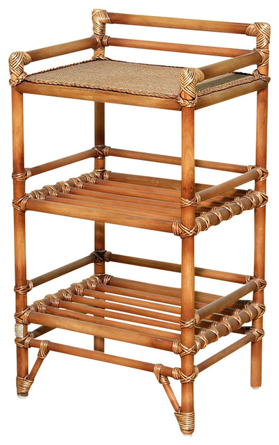 Solid Wood W/ Rattan Accent Table Stands, 3 Shelf Table Side Tables