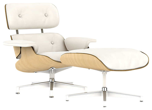 Eames Lounge Chair, White Ash By Herman Miller, Pearl White MCL Leather,  Ottoman