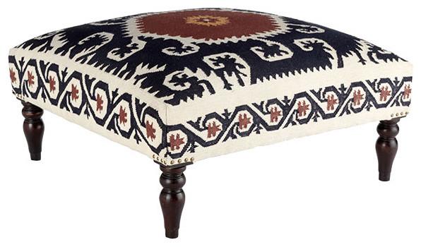 Wooden Dhurrie Upholstered Ottoman