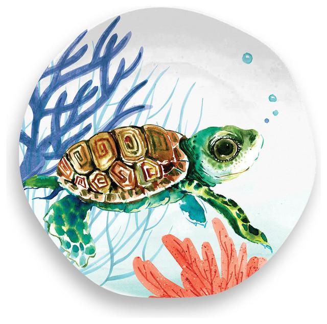 Sea Life Turtle Wave Rug2 Bath Mat: TarHong Sea Life Turtle Salad Plate - Dinnerware