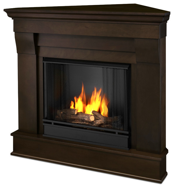 chateau corner gel fuel dark walnut fireplace traditional indoor rh houzz com