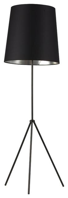 Oversized Drum 1-Light Floor Lamp, Matte Black.