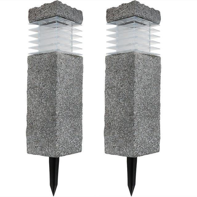"Sunnydaze 18"" Outdoor Cement Bollard Solar Pathway Lights, Set of 2"