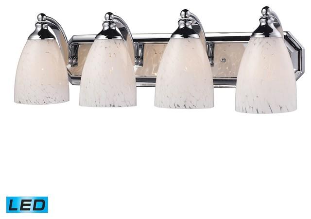 Bath And Spa 4-Light LED Vanity, Polished Chrome And Snow