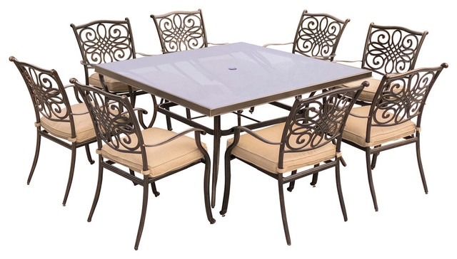 Traditions 9-Piece Dining Set With 60 Square Table, Tan/bronze.