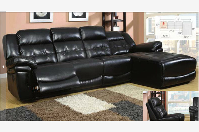 Black Leather Reclining Sectional Sofa Recliner Chaise