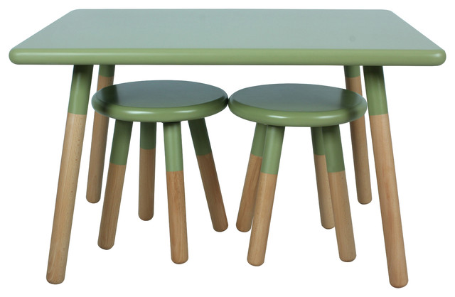 Kids Dipped Table And Stool Set Olive