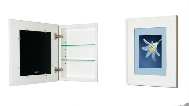 "Concealed Picture Frame Medicine Cabinet, No Mirror, White, 13 1/8""x16""."