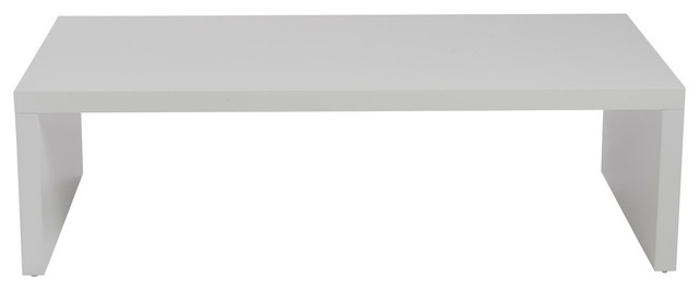 Euro Style Abby Rectangle Coffee Table In High Gloss White.