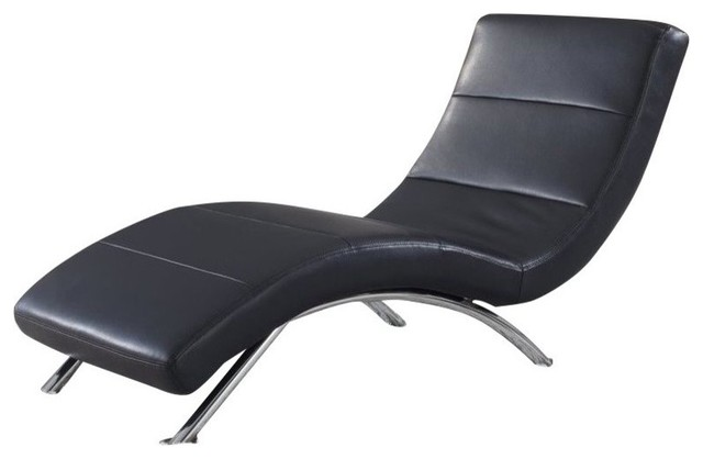 Atlin Designs Leather Chaise, Black With Chrome Legs.