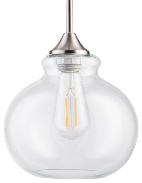 Ariella Casella Clear Glass Stem Hung Pendant Lamp With Led Bulb.