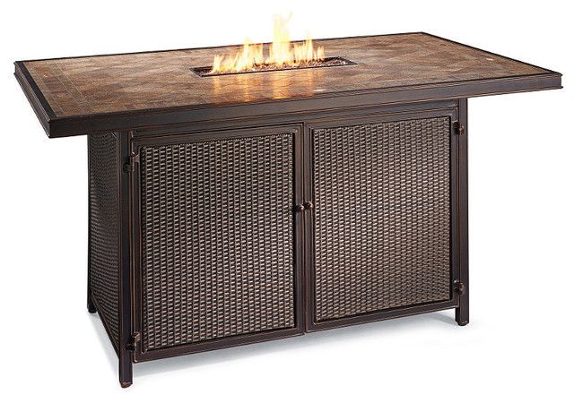 Palermo Counter Height Fire Table - Frontgate, Patio Furniture -  Traditional - Indoor Pub And Bistro Tables - by FRONTGATE - Palermo Counter Height Fire Table - Frontgate, Patio Furniture