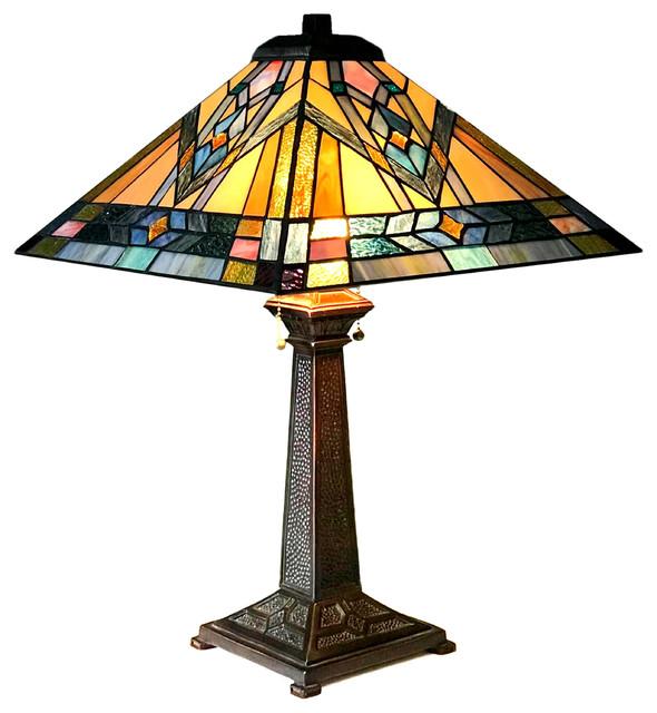 "CHLOE Lighting MICHAEL Mission 2-Light Antique Dark Bronze Table Lamp 16"""