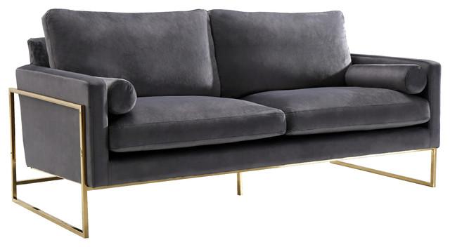 Mila Velvet Sofa, Gray