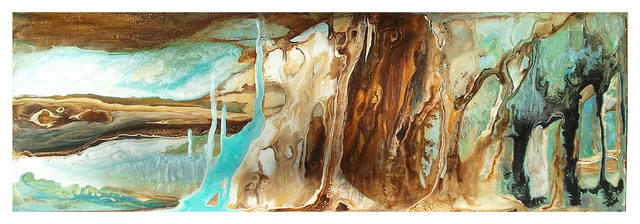"""Wide Pearlescent Abstract - 12"""" x 36"""" x 2""""  SOLD"""