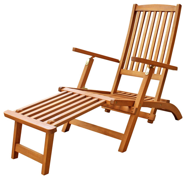 Tommy Hardwood Patio Folding Chair With Foot Rest