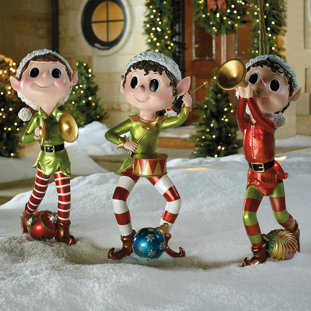 set of three pixie elves frontgate outdoor christmas decorations - Large Outdoor Christmas Decorations