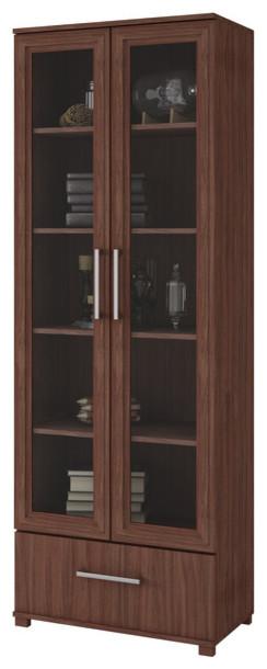 Modern Gl Door Display Bookshelf 5 Shelf 1 Bottom Drawer Brown