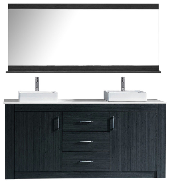 "Yuriko Double Bathroom Vanity, Gray, Stone Countertop, 60""."