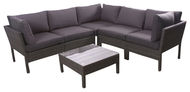 Infinity 6 Piece Wicker Patio Seating Set Grey With Grey Cushions  Contemporary Outdoor