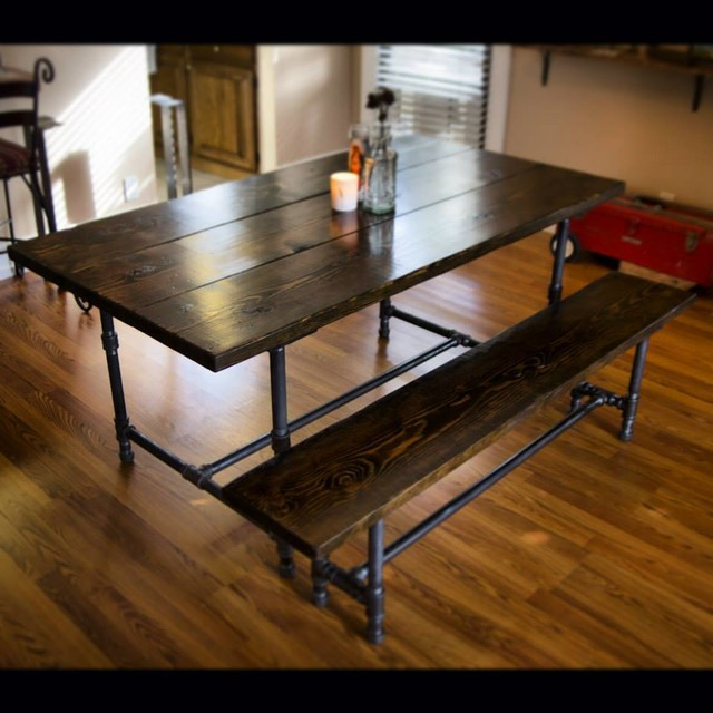 6ft Iron And Wood Dining Table With Matching Bench Rustic Dining Tables