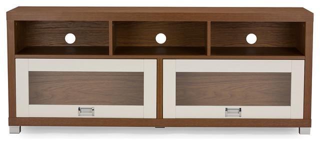 Swindon Modern 2-Tone Walnut and White TV Stand With Glass Doors ...