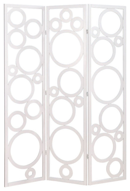 delicate white circles pine wood 3 panel room divider screen shoji