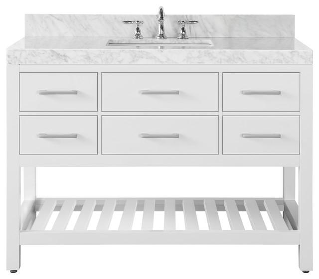 "Elizabeth Vanity Set, Base: White, Top: Carrara Marble, 48""."